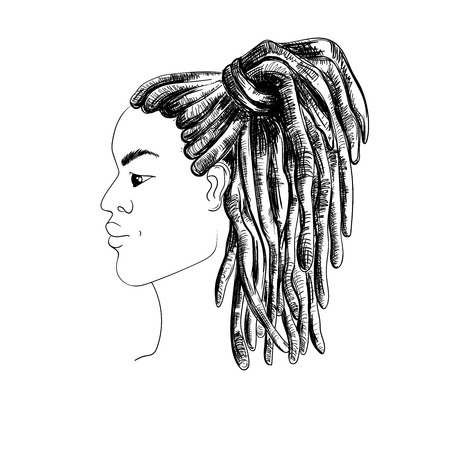 Portrait of man with dreadlocks in profile. Isolated on white background. Black and white vector illustration in sketch style