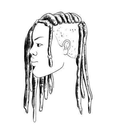 Portrait of woman with dreadlocks in profile Isolated on white background.