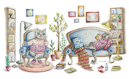 Cozy room interior with cats and furniture. Cute cartoon characters. Hand drawn illustration painted with color pencils