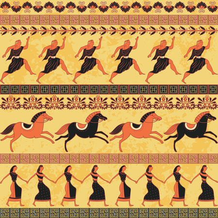 a Seamless pattern with ancient Greek people, horses and ornament.