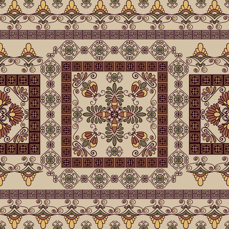 Seamless pattern with ancient greek ornament. Traditional ethnic background. Vintage vector illustration 스톡 콘텐츠 - 98018035