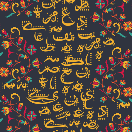 Seamless pattern with Arabic calligraphy and arabesque. Design concept for Muslim community festival Eid Al Fitr(Translation: thank god). Vector illustration.