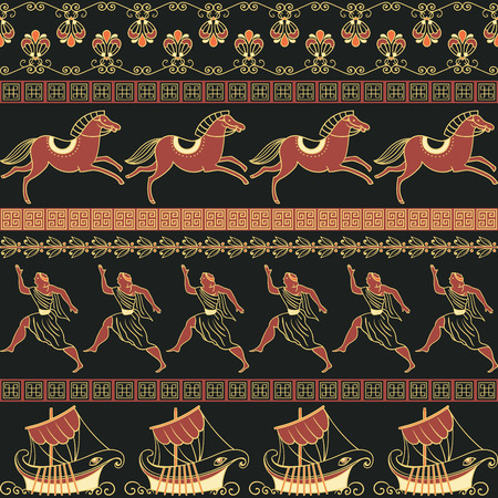 Seamless pattern with ancient Greek ships, people, horses and ornament. Traditional ethnic background. Vintage vector illustration. Illustration