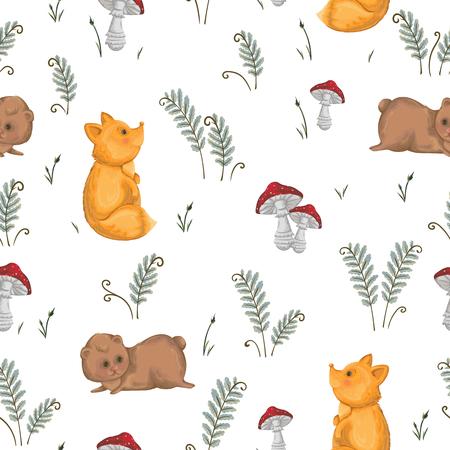 A Seamless pattern with fox, teddy bear, mushrooms and fern.