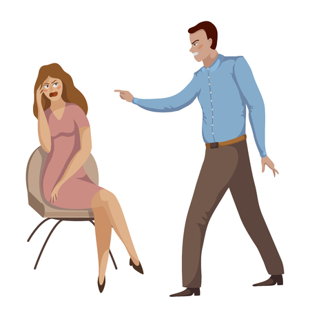Quarrel. Young couple arguing. Man and woman shouting at each other. Problems in relationships, disagreement and conflict. Vector illustration Vettoriali