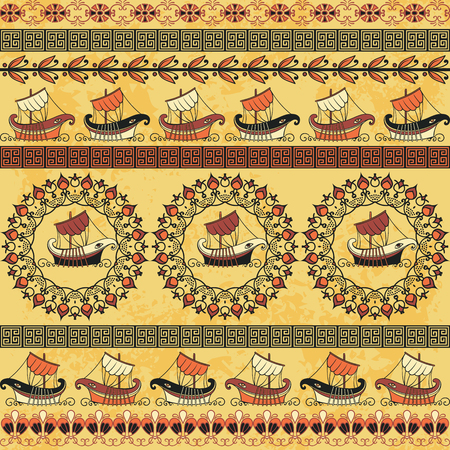 Seamless pattern with ancient Greek ships and ornament. Traditional ethnic background. Vintage vector illustration