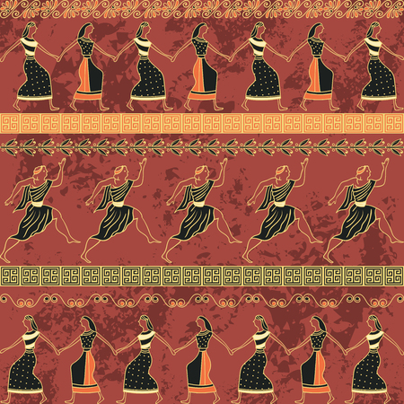 Seamless pattern with ancient greek ornament and dancing people. Traditional ethnic background. Vintage vector illustration