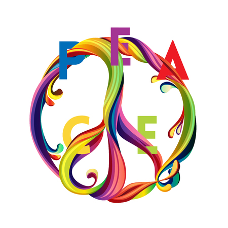 Hippie peace symbol with liquid shapes and sliced text. Illustration