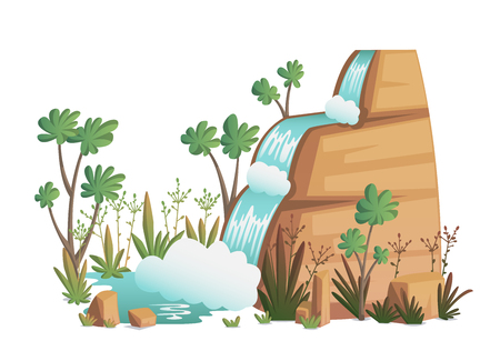 Waterfall. Cartoon landscapes with mountains, trees and bushes . Vector illustration Vectores