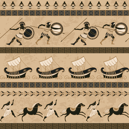 Seamless pattern with ancient greek ships, fighting people, horses and ornament. Traditional ethnic background. Vintage vector illustration Vettoriali
