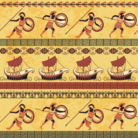 Seamless pattern with ancient greek ships, fighting people and ornament. Traditional ethnic background. Vintage vector illustration Illustration