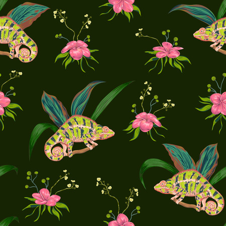 Seamless pattern with tropical flowers, leaves and chameleon. Exotic botanical background. Vector illustration in watercolor style 向量圖像