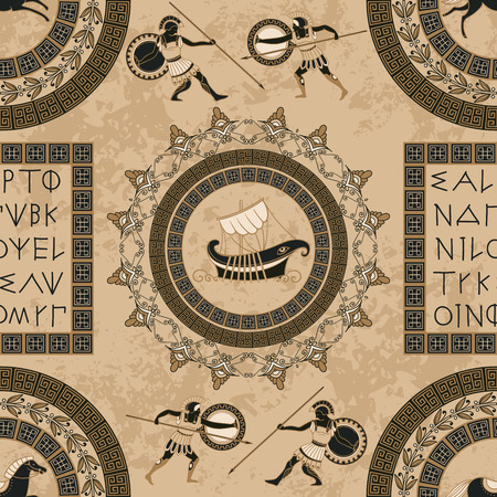 Ancient Greek letters, ships, horses, fighting people and ornament seamless pattern. Traditional ethnic background vintage vector illustration.