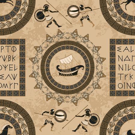 Lettere del greco antico, navi, cavalli, combattenti e ornamento senza cuciture. Illustrazione d'annata tradizionale di vettore di origine etnica. Archivio Fotografico - 99565523
