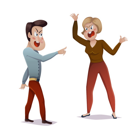Man and woman arguing at each other on white backdrop illustration. Illustration