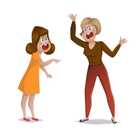 Quarrel. Two women arguing and shouting at each other. Female conflict, problems in relationships, friendship difficulties. Vector illustration Stock Illustratie