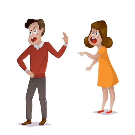 Quarrel. Young couple arguing. Man and woman shouting at each other. Problems in relationships, disagreement and conflict. Vector illustration Çizim