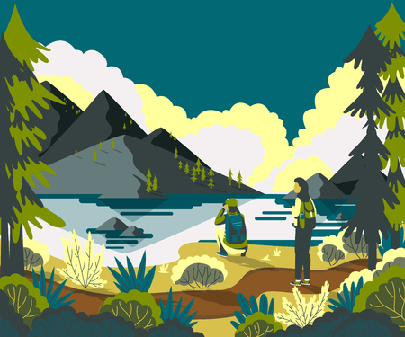 Couple backpackers hiking in mountain landscape and enjoying valley view. Vector illustration Foto de archivo - 100293881