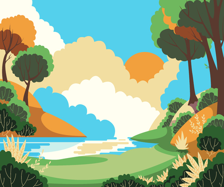 Beautiful summer landscape with sun, trees and river. Vector illustration