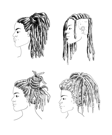 Portrait of men and women with dreadlocks in profile. Isolated on white background. Black and white vector illustration in sketch style Vectores