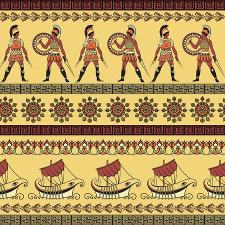 Nahtloses Muster mit alten griechischen Schiffen, kämpfenden Leuten und Verzierung. Traditioneller ethnischer Hintergrund. Weinlesevektorillustration Vektorgrafik