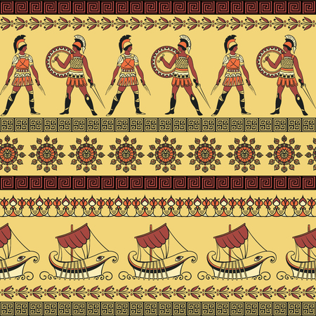 Seamless pattern with ancient greek ships, fighting people and ornament. Traditional ethnic background. Vintage vector illustration Çizim