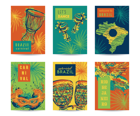 Brazil carnival template design for posters, banners, flyers, placards, brochures. Drums tam tam, maracas, Brazil map, parrot, mask and palm leaves. Traditional symbols set.