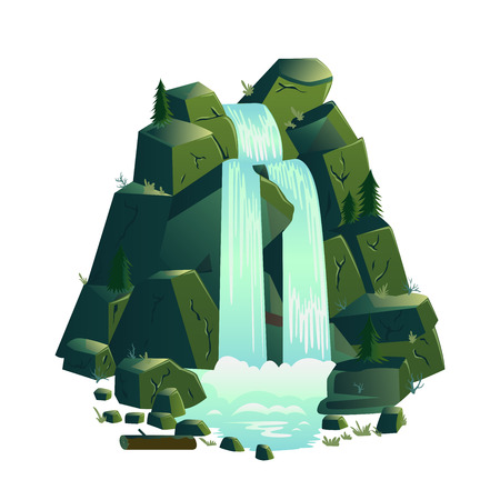 Waterfall. Cartoon landscapes with mountains and fir trees. Vector illustration