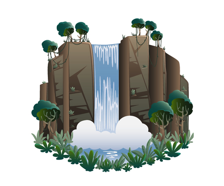 Waterfall cartoon landscape with mountains, trees and bushes. Vector illustration