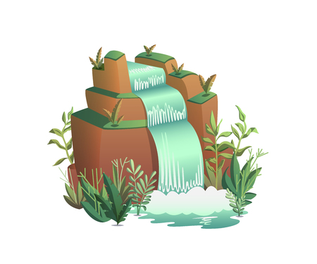 Waterfall. Cartoon landscapes with mountains, trees and bushes . Vector illustration Illustration