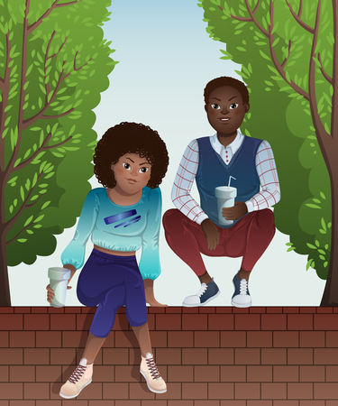 Couple of african american teenagers sitting on brick wall of fence and green trees. Vector illustration