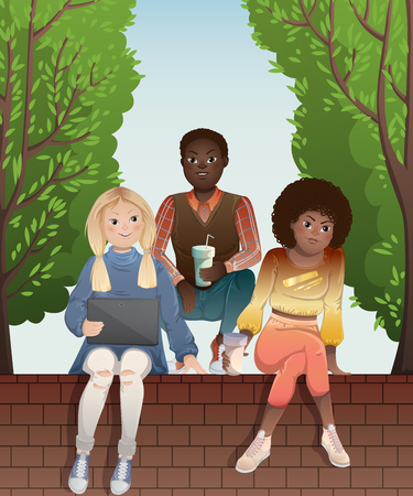 Diverse group of teenagers looking at tablet and sitting on brick wall of fence. Multiethnic friends company outdoor. Vector illustration