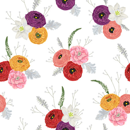 Seamless pattern with ranunculus, camellias, lily, snapdragons, dusty miller and gypsophila. Decorative holiday floral background. Vintage vector illustration in watercolor style