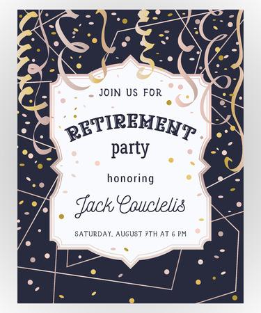 Invitation à une fête de retraite. Modèle de conception avec cadre polygonale en or rose, confettis et serpentine. Illustration vectorielle