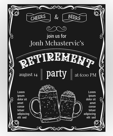 Retirement party invitation. Design template with glasses of beer and vintage ornament on chalkboard background. Vector illustration Ilustração