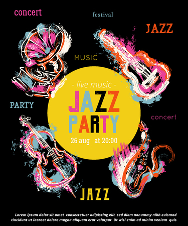 Jazz music party poster with musical instruments. Saxophone, guitar, cello, gramophone with grunge watercolor splashes. Design template for invitation, card, placard and flyer. Vector illustration