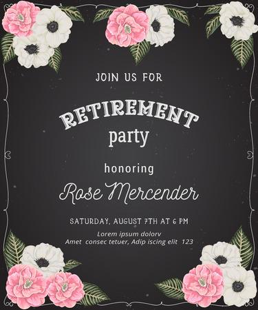 Invito a una festa di pensionamento. Modello di disegno con camelie rosa, fiori di anemone bianco in stile acquerello su sfondo lavagna. Illustrazione vettoriale