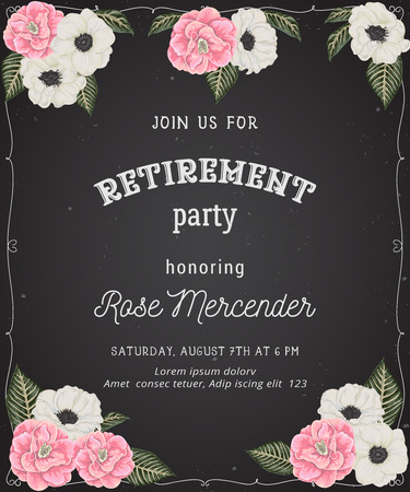 Retirement party invitation. Design template with pink camellias, white anemone flowers in watercolor style on chalkboard background. Vector illustration