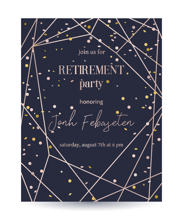 Retirement party invitation. Design template with rose gold polygonal frame and confetti. Vector illustration