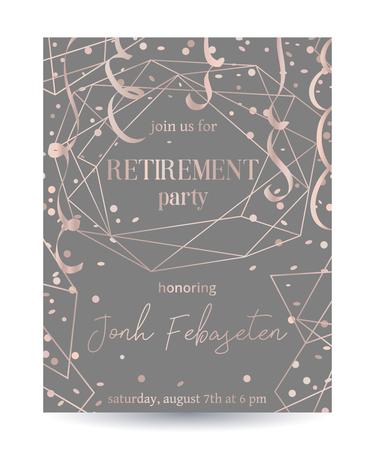 Invitación a fiesta de jubilación. Plantilla de diseño con marco poligonal de oro rosa, confeti y serpentina.