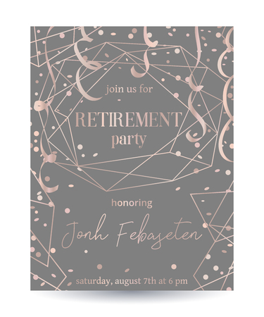 Retirement party invitation. Design template with rose gold polygonal frame, confetti and serpentine.