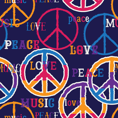 Hippie peace symbol. Peace, love, music sign. Colorful background. Design concept for banner, card, scrap booking, t-shirt, print, poster. Vector illustration Stock Illustratie