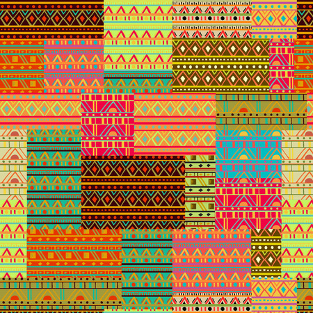 Seamless patchwork pattern with tribal geometric ornament. Ethnic design for fabric, print, wrapping paper, card, invitation, wallpaper. Vector illustration