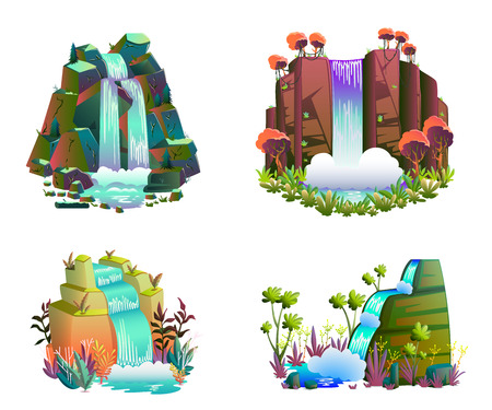 Waterfalls set. Cartoon landscapes with mountains and trees. Vector illustration Illustration