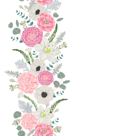 Decorative holiday border with beautiful flowers, leaves and branches in watercolor style. Vintage floral design. Vector illustration Vector Illustratie