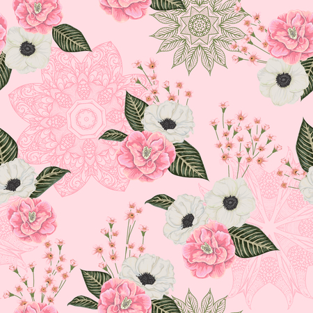 Seamless pattern with pink camellias, white anemone flowers, alstroemeria and lace ornament. Floral background with with ornate mandala. Vector illustration in watercolor style Ilustracja