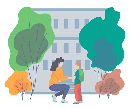 Mother talks to her son before taking him to school. Concept of parent support. Vector illustration