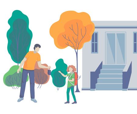 Father gives his daughter lunch box. Parent taking child to school. Back to school. Concept of friendly family. Vector illustration