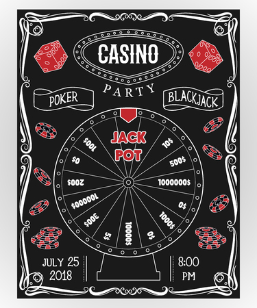 Casino party invitation on chalkboard with fortune wheel, dice, poker chips. Gambling symbols. Vintage vector illustration