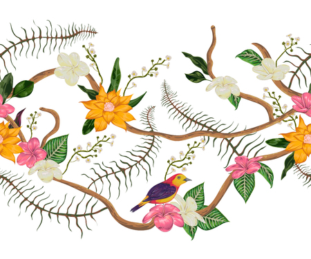 Seamless border with tropical birds, plants and flowers. Exotic flora and fauna. Vector illustration in watercolor style 向量圖像